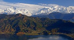 Pokhara, machhapuchhare and Annapurna from the Peace Pagoda