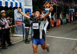 Sudip Kulung finishing the 25th Kinabulu Climbathon in 4th place