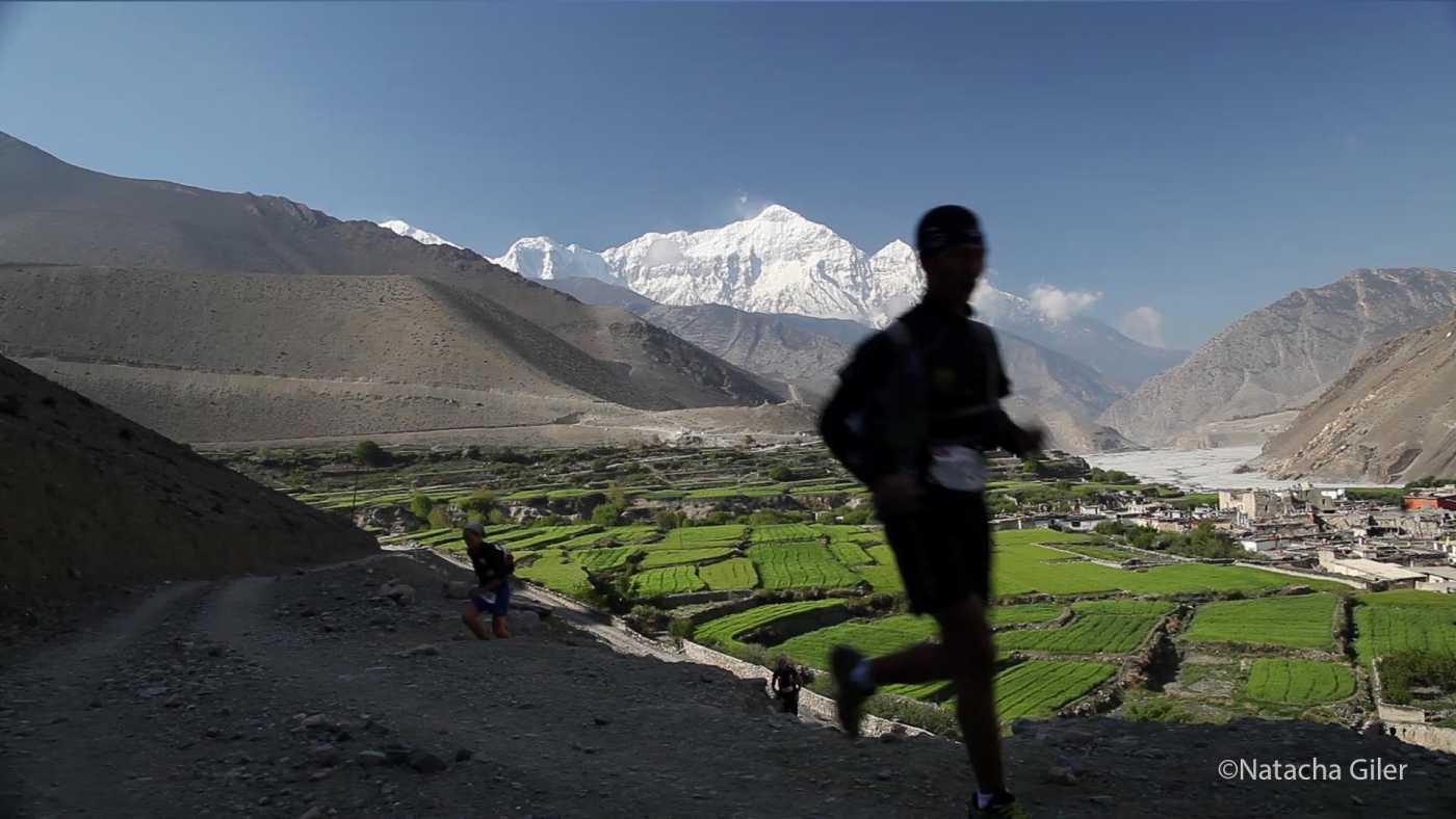 Upendra Sunuwar running in Upper Mustang.