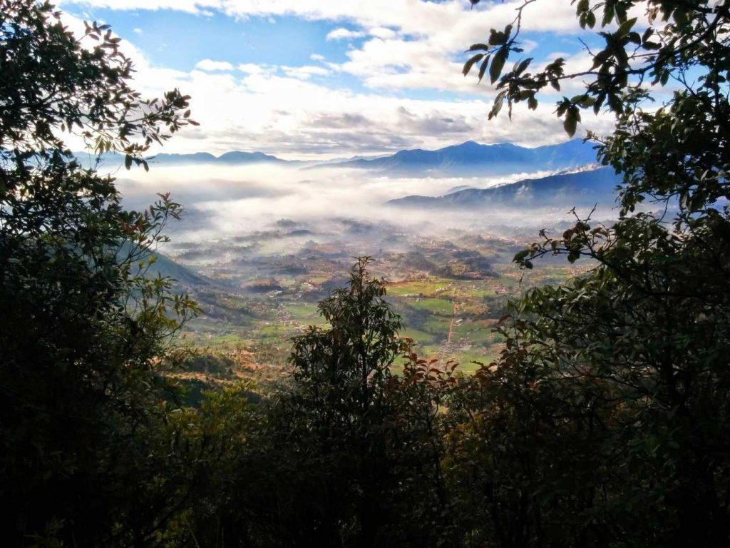 hiking trail above tokha from shivapuri kathmandu nepal
