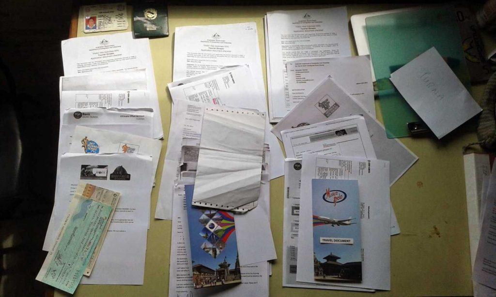 australian visa paperwork for nepalese