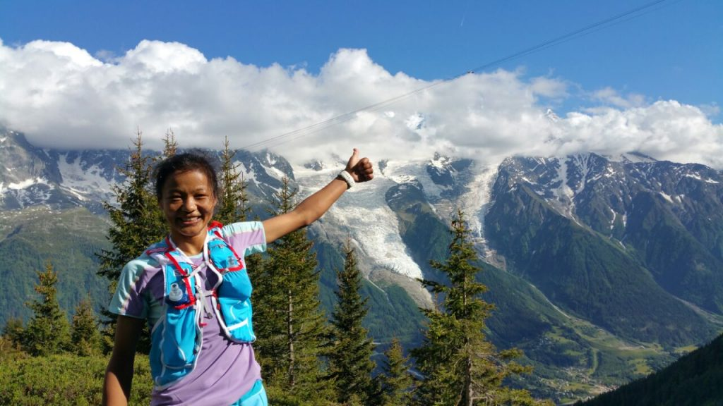 Mira Rai in Chamonix in Salomon Gear