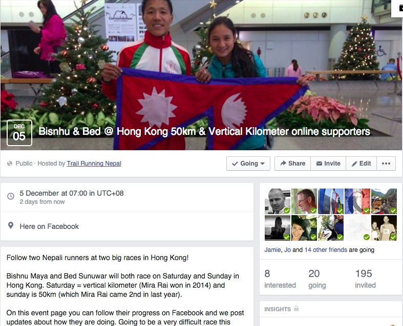 Nepali runners supporters page
