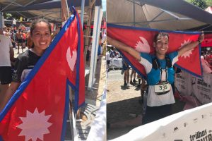Sunmaya Budha Durga Budha nepali athletes with flag