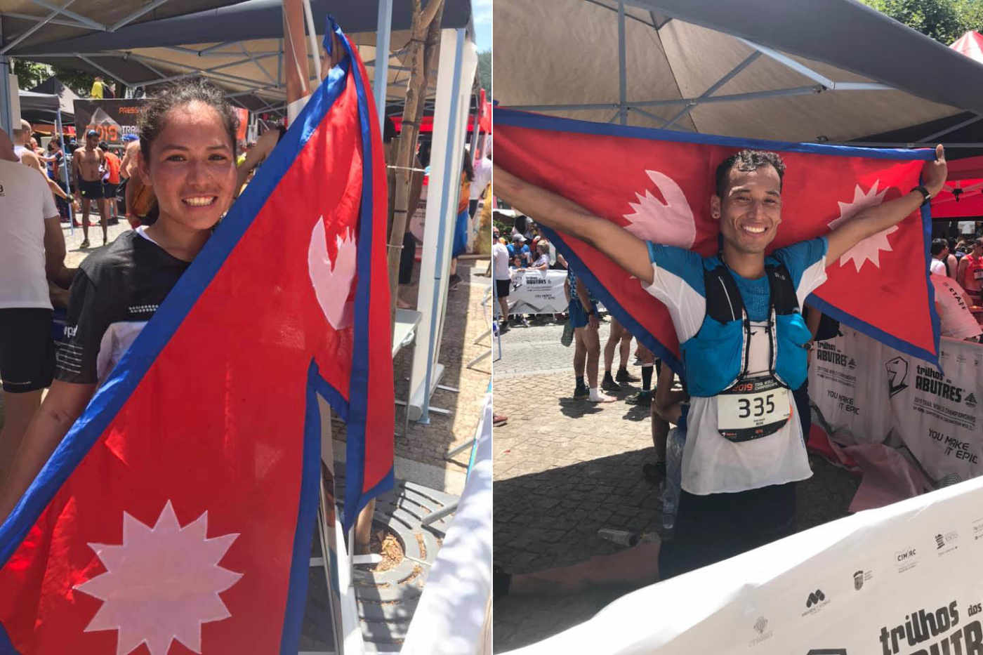 Sunmaya Budha Durga Budha nepali athletes with flag